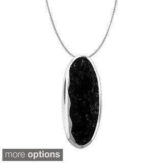 Gioelli Sterling Silver Oval-shaped Crushed Gemstone Chips Pendant Necklace