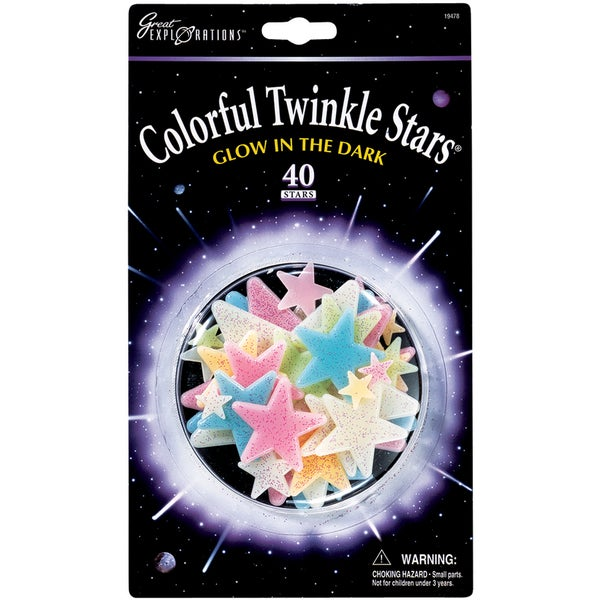 Glow In The Dark Pack-Colorful Twinkle Stars 40/Pkg