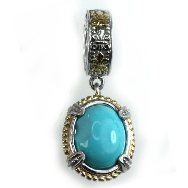 Michael Valitutti Palladium Silver Oval Turquoise Charm