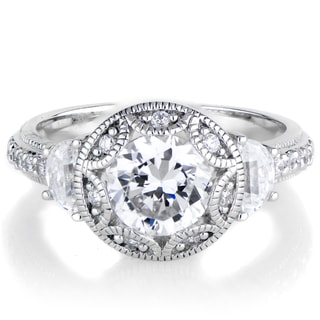 Rhodium-plated Sterling Silver Cubic Zirconia Art Deco Ring
