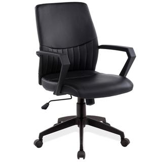 KD Furnishings Black Faux Leather Office Arm Chair