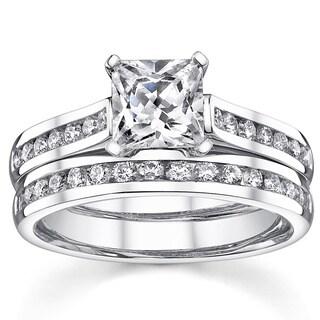 18K White Gold 1 2/5ct TDW Certified Princess Diamond Bridal Ring Set (I-J, SI1-SI3)