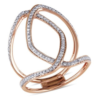 Miadora Signature Collection 14k Rose Gold 2/5ct TDW Geometric Diamond Ring (I-J, I1-I2)
