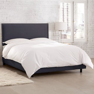 Skyline Furniture Burling Nail Button Border Bed in Micro-Suede Lazuli Blue