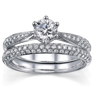 18k White Gold 1ct TDW Certified Diamond Bridal Set (H-I, SI1-SI2)
