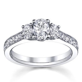 14k White Gold 1 1/2ct TDW 3-stone Engagement Ring (H-I, SI1-SI2)
