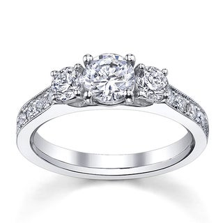 14k White Gold 1 1/2ct TDW Round Diamond Engagement Ring (H-I, SI1-SI2)
