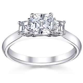 14k White Gold 4/5ct TDW Diamond Asscher-cut Three-stone Engagement Ring (H-I, VS1-VS2)