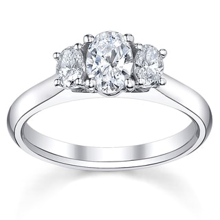 14k White Gold 3/4ct TDW Diamond 3-stone Engagement Ring (H-I, SI1-SI2)