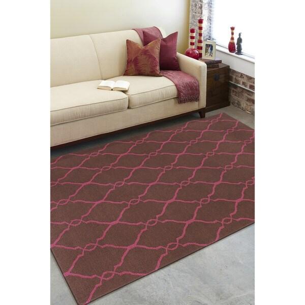 Hand-woven Elsie Brown/Pink Flatweave Wool Rug (3'6 x 5'6)