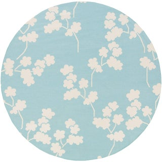 Hand-Woven Shepshed Floral Wool Rug (8' Round)