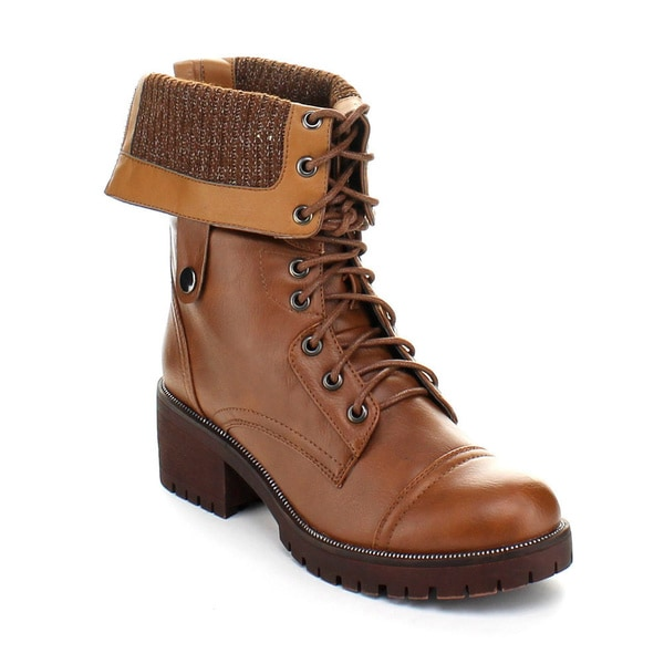 Bumper Ivanka02 Women's Lace Up Mid-Calf Combat Boots