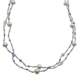 Pearls For You White Freshwater Pearls and Crystal Bead 2-row Necklace (7-8 mm)