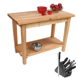 John Boos Country Maple Butcher Block 48 x 35 Work Table with Drawer, Shelf and Henckels 13-piece Knife Block Set