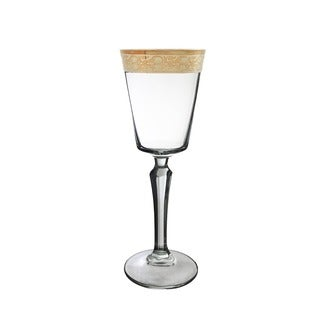 Gold Rimmed Wine Glass Crafted in Italy (Set of 6)