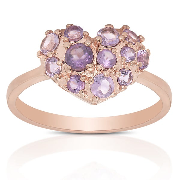 Dolce Giavonna Gold Over Sterling Silver Amethyst Gemstone Ring