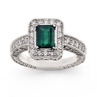 Neda Behnam Diamonds for a Cure 14k White Gold 3/5ct TDW Diamond and Emerald Ring (G-H, SI1-SI2)