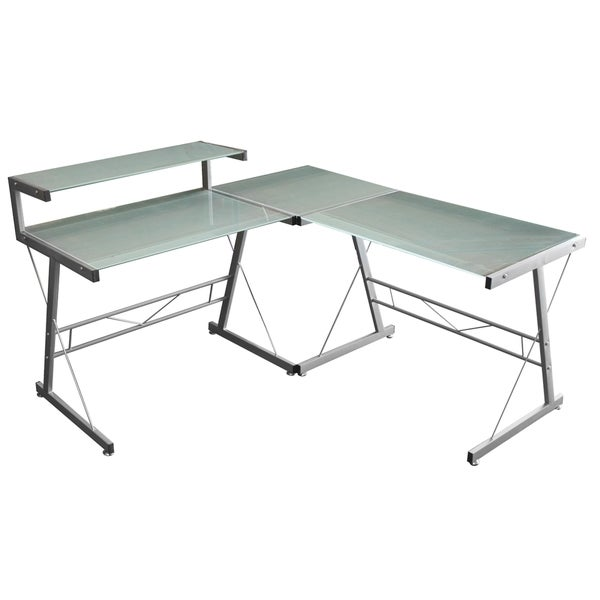 Merax Glass-top Corner Computer Desk - 16743656 - Overstock Shopping