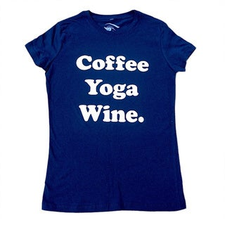 3rd Culture Style Women's 'Coffee Yoga Wine' Crew-neck Activewear Graphic T-shirt