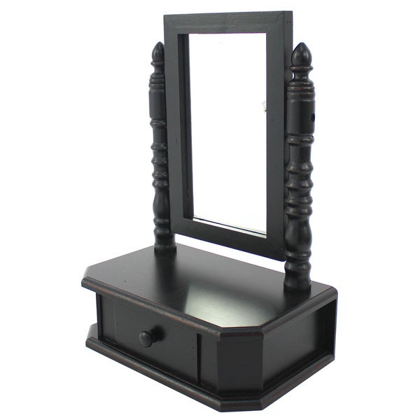 Black Tabletop Storage Drawer with Mirror