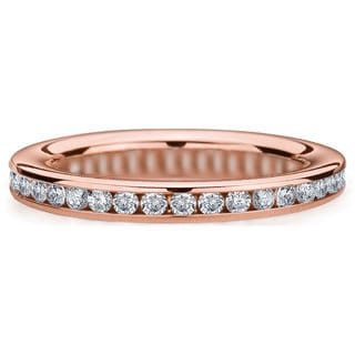 Amore 14k or 18k Rose Gold 1/2ct TDW Channel Set Diamond Wedding Band (G-H, SI1-SI2)