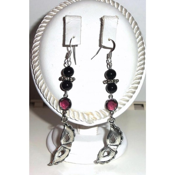Diamonds by Sonja Handmade Magenta Crystal and Mask Earrings