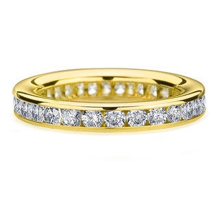 Amore 14k or 18k Yellow Gold 1 1/2ct TDW Channel Set Diamond Wedding Band (G-H, SI1-SI2)