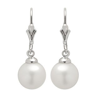 Pearls For You Sterling Silver White Freshwater Pearls Fleur de Lis Dangle Earring (9-10 mm)