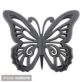 Painted Wood Butterfly Wall Plaque (Set of 2)