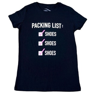 3rd Culture Style Ladies 'Packing List' Black Short-sleeve T-shirt