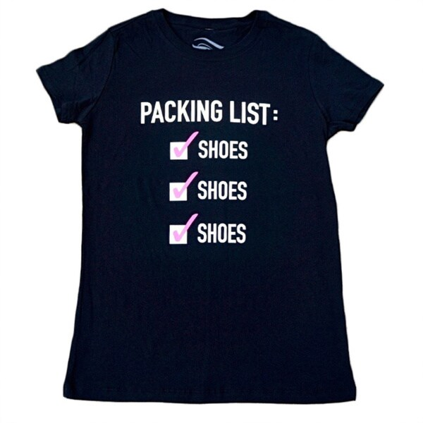3rd Culture Style Ladies 'Packing List' Black Short-sleeve Activewear Graphic T-shirt