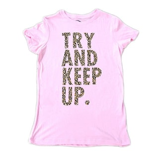 3rd Culture Style Women's 'Try and Keep Up' Pink/Leopard Print Short-sleeve Activewear Graphic T-shirt