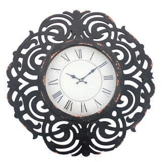 Black Wooden Scroll Cut-out Wall Clock