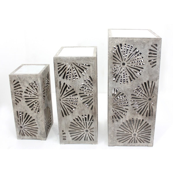 Grey Laser-cut Wooden Column Tables (Set of 3)