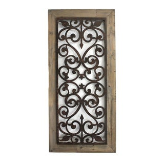 Metal and Wood Scrollwork Wall Plaque