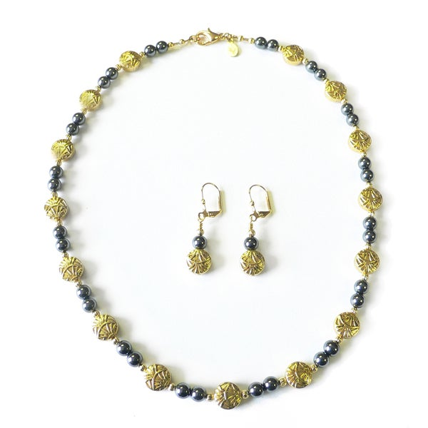 Palmtree Gems Fan Dance Gold and Black Pearl Necklace and Earring Set 14227818