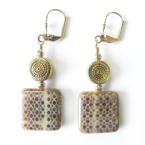 Palmtree Gems 'Sunny' Snakeskin Pattern Dangle Earrings 14227819