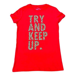 3rd Culture Style Women's 'Try and Keep Up' Red/Leopard Activewear Graphic T-shirt