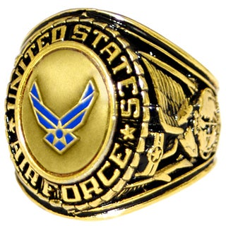 Antiqued Goldtone US Air Force Insignia Ring