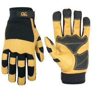 Top Grain Goatskin Large Yellow/ Black Gloves