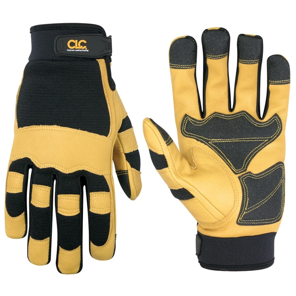 Top Grain Goatskin Large Yellow/ Black Gloves