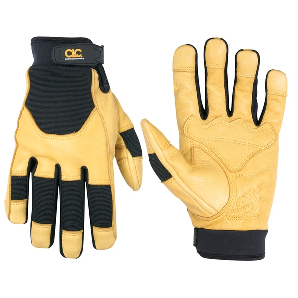Deerskin Large Black/ Yellow Gloves