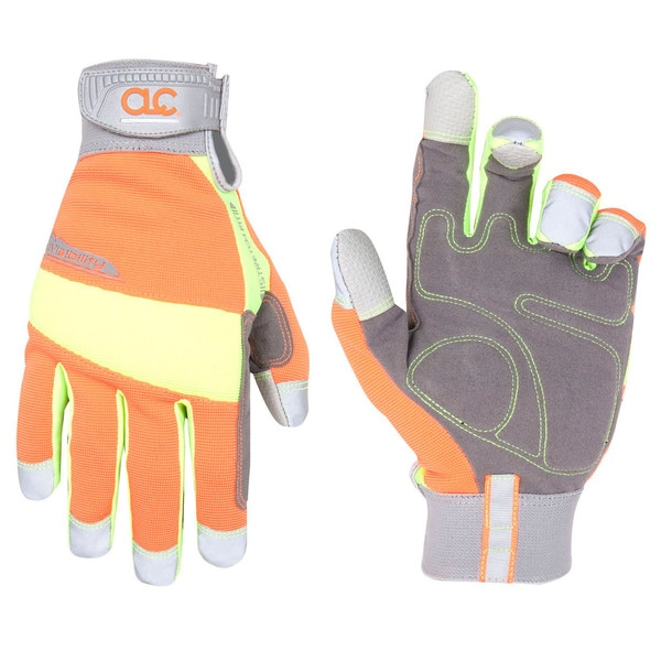 HiVisibility Medium Orange/ Grey Gloves