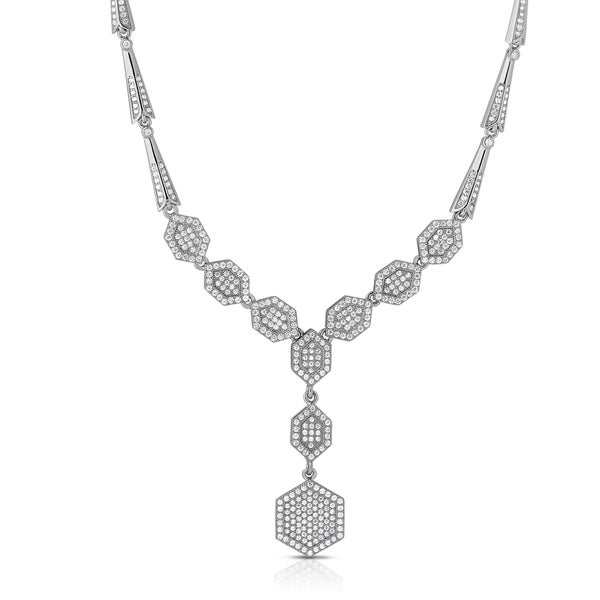Collette Z Sterling Silver White Cubic Zirconia Pentagon Shape Necklace