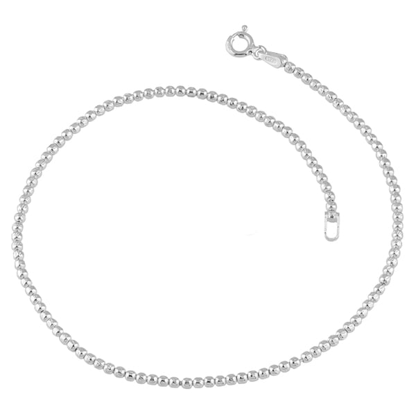 Fremada Sterling Silver 2-mm Diamond-cut Bead Anklet (10 inches)
