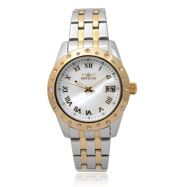Invicta Women'S 17489 Stainless Steel 'Angel' Rhinestone Round Face Chronograph Watch 14228696