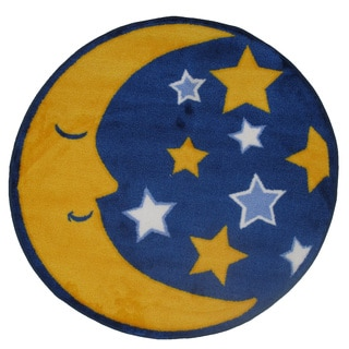 Machine-Made Moon and Stars Blue Nylon Accent Rug (2'6 x 2'6)