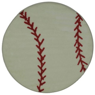 Machine-Made Baseball White Nylon Accent Rug (3'2 x 3'2)