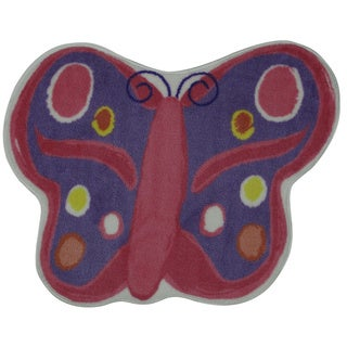 Machine-Made Butterfly Pink Nylon Accent Rug (2'9 x 3'2)