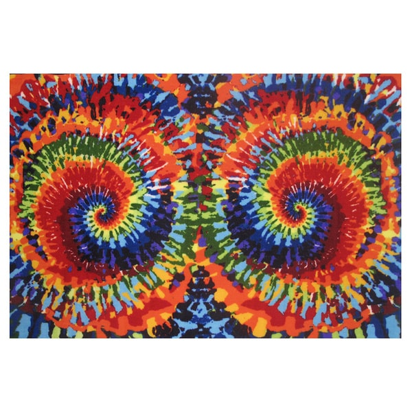 Tie-Dye Multi-colored Nylon Accent Area Rug (3'3 x 4'8)
